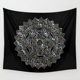 Aztec Mexican Silver Mandala Wall Tapestry