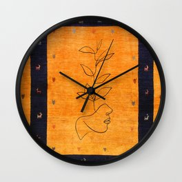 N55 - Antique Epic Colored Oriental Moroccan Style Women Line Art Artwork Wall Clock