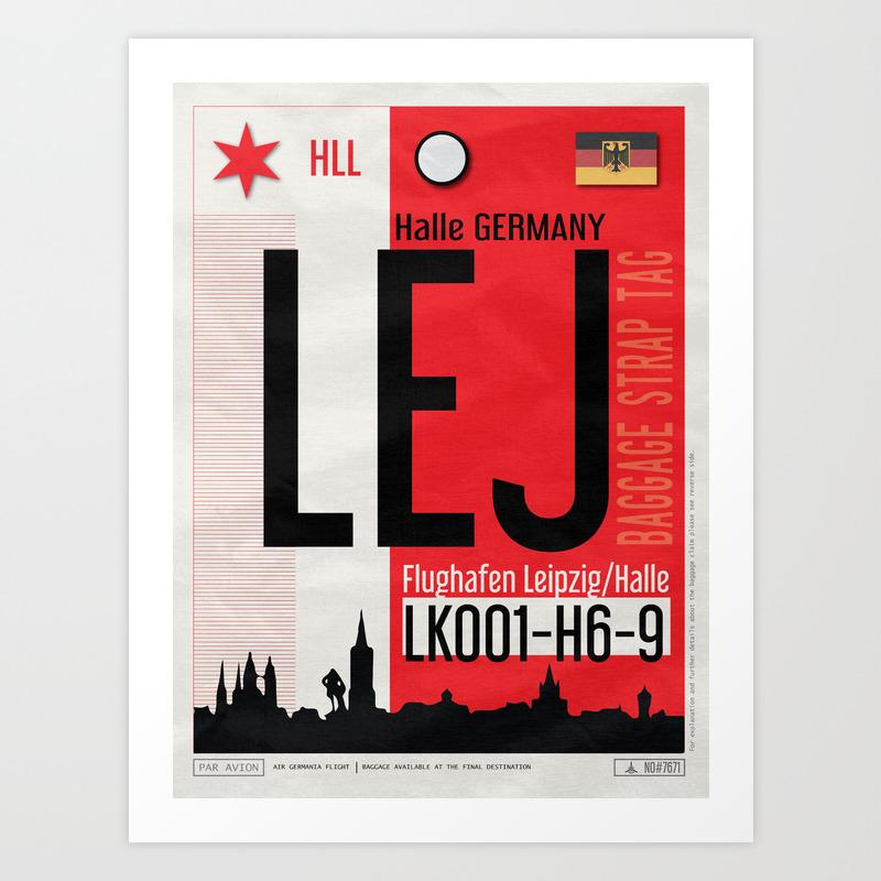 Vintage Leipzig Halle Germany Luggage Tag Poster Art Print By Vagabondtags Society6
