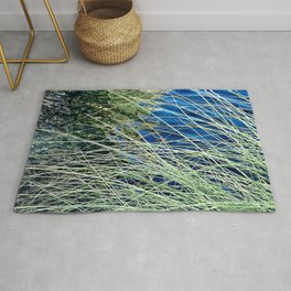 Long Blades Of Grass By Turquoise Blue Pond Rug