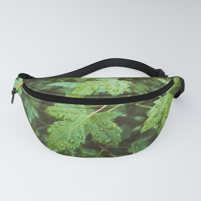 Green Leaves In Rain Fanny Pack