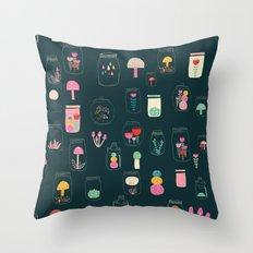 Happy terrarium pattern Throw Pillow