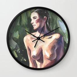 Original erotic watercolor painting NUDE GIRL POSING By the pool Wall Clock