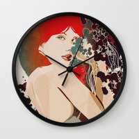 black widow Wall Clocks featuring Black Widow by Beruna Girl