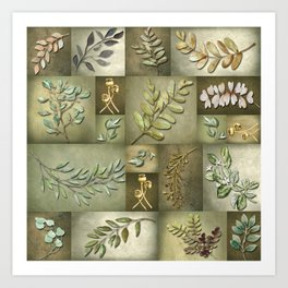 Earthtone Color Blocks with Botanicals Art Print