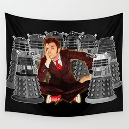 10th doctor who captured by mini daleks Wall Tapestry