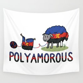 Cute poly amorous sheep cartoon vector illustration motif set. Wall Tapestry