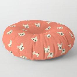 French Bulldog Peek - Cream on Sunset Red Floor Pillow