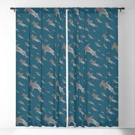 Hammerhead shark school Blackout Curtain