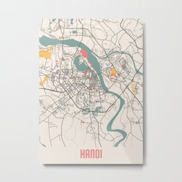 Hanoi - Vietnam Chalk City Map Metal Print