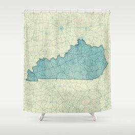 Kentucky State Map Blue Vintage Shower Curtain
