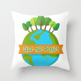 Save The Planet Shrits Environmental Awareness Earth Day Throw Pillow
