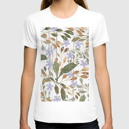 Rustic white wood green lavender watercolor floral T-shirt