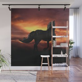 Horse kissed by the wind at sunset Wall Mural
