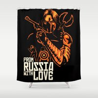 russia Shower Curtains featuring From Russia With Love by rnlaing