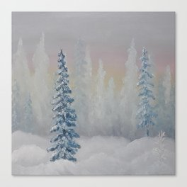 Winter scenery, oil painting by Luna Smith, LuArt Gallery landscape Canvas Print