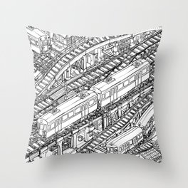 The Town of Train 3 Throw Pillow