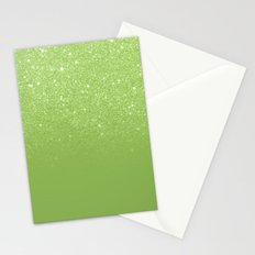 Modern green glitter ombre color block greenery color of the year pattern Stationery Cards