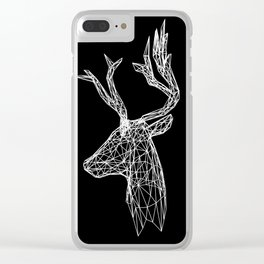 Black and White Deer Clear iPhone Case