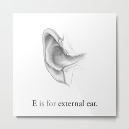 E is for external ear Metal Print