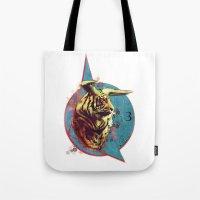 spiritual Tote Bags featuring Spiritual Tiger by Rene Alberto