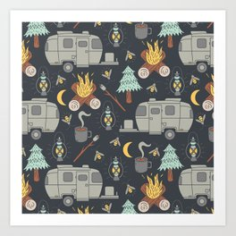 Airstream Camping Art Print