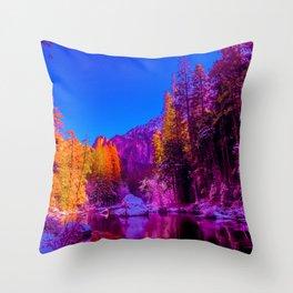 Yosemite winter forest gradient 0488 Throw Pillow
