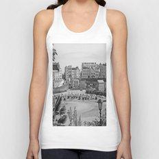 Tenby Harbour. Black+White. Reflection. Unisex Tank Top