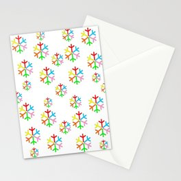 Multicolor stars 2-stars,yellow,night,sky,light, dark,kitsch,rays,hope,pointed Stationery Cards