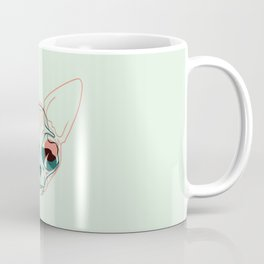 Pastel Green and Coral Sphynx Cat Skull Overlay - Hairless Kitty Double Exposure Line Drawing Coffee Mug