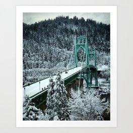 St Johns Bridge Winter Wonderland by Seasons Kaz Sparks Art Print
