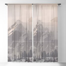 Pink Mountain Morning - Nature Photography Sheer Curtain