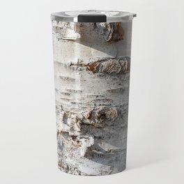 Full frame of birch bark tree detailed texture in close-up Travel Mug