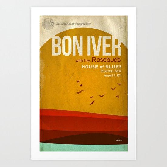 Custom Bon Iver concert poster Art Print