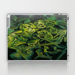 A Skeleton Embracing A Zombie Halloween Horror Laptop & iPad Skin