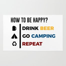 Be Happy Drink Beer Go Camping Design Rug