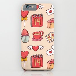 Cute valentine's Kawaii element in doodle style seamless pattern iPhone Case