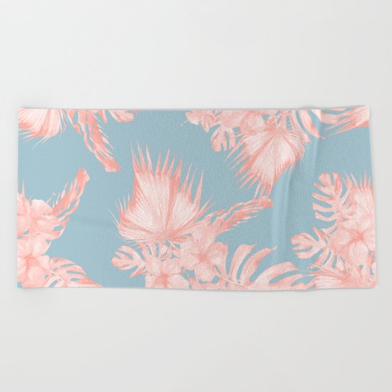 Tropical Palm Leaves Hibiscus Coral Blue Beach Towel