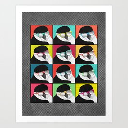 Chinstrap Penguins Pop Art vertical digital paper collage Art Print