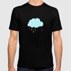 I wish it could rain colors MEDIUM Black Mens Fitted Tee