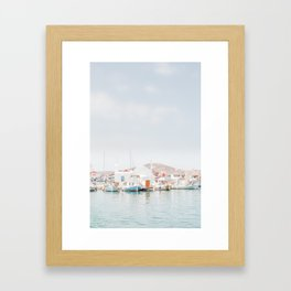 Paros Harbour Framed Art Print