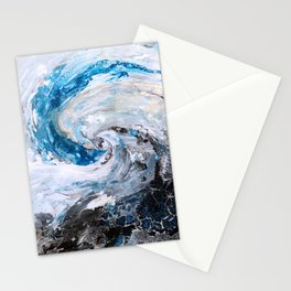 Ocean wave - blue and gold abstract seascape Stationery Cards