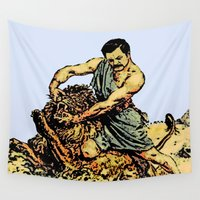 parks and recreation Wall Tapestries featuring Ron Swanson Slaying A Lion  |  Parks and Recreation by Silvio Ledbetter