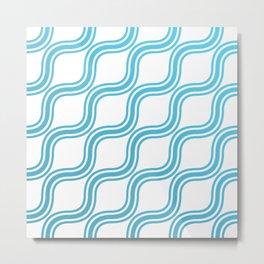 Blue Waves Pattern Metal Print