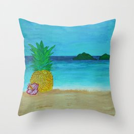 Pineapple On The Beach - Vibrant Throw Pillow