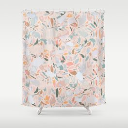 Vintage Abstract Plants / Pastel Leaves Shower Curtain