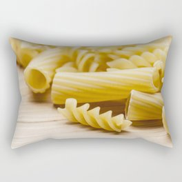 Italian pasta on a wooden table Rectangular Pillow