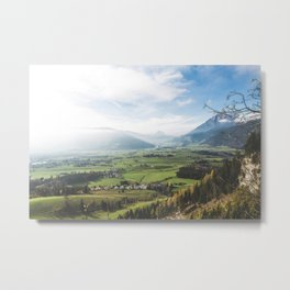 View of farmlands in a misty day Metal Print