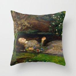 Ophelia, John Everett Millais Throw Pillow