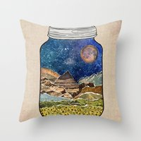 collage Throw Pillows featuring Star Jar by Jenndalyn